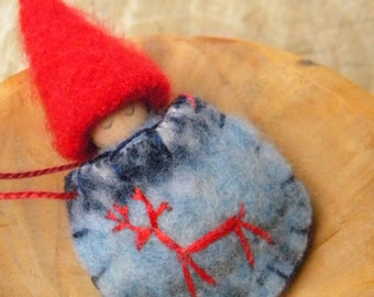 Waldorf Gnome Baby Necklace, Blue Sweater Pouch, Deer, Wearable Doll, Winter, red, blue, limited quantity Upcycled wool felt, eco toy