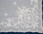 Vintage French Lace Curtain. Rideau de Cornelys.  Hand Embroidered White Muslin.