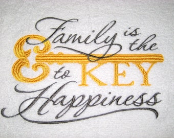 Family Is The Key To Happiness Hand Towel