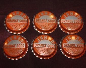 Lot of 6 Vintage JUMBO ORANGE SODA Bottle Caps, Unused, Double Cola Co., Chattanooga Tennessee; New Old Stock 1960s