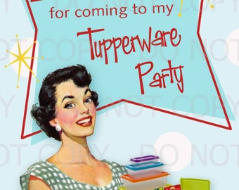 Printable DIY Retro Housewife Tupperware Party Thank You Card with Post Card Backing