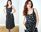 ON SALE Vintage 90s French Print Ankle Length Dress