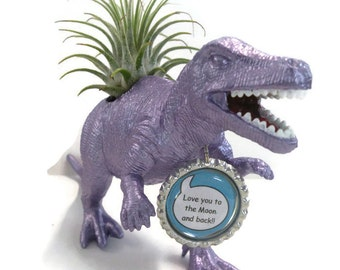 Dinosaur decor planter in metallic purple with personalized message and air plant.