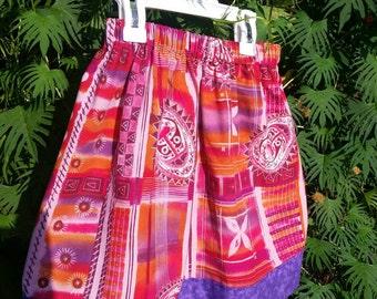 Girls Pink and Purple Batik Skirt