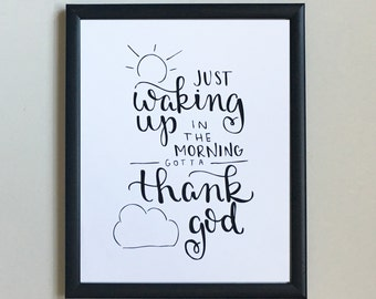 Waking Up // Hand Lettered 8x10 Print