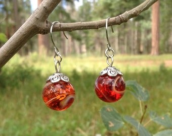 Peach Tea Marble Earrings with Silver French Hooks
