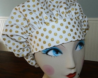 NEW Spot On on White with Gold Banded Bouffant Surgical Cap/Bakers Cap