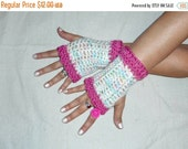 COTTON CANDY Fingerless Gloves boho Handmade Crocheted Arm WarmersTexting Gloves Texting Driving Gloves Pastel Salmon Pink Frilly Girly