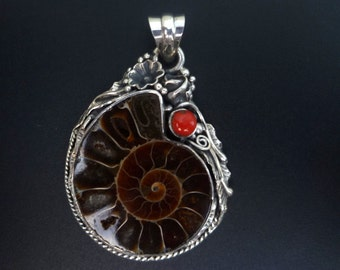Handmade Sterling Silver and Ammonite Fossil Statement Pendant - Brown Fossil Pendant -One of a Kind Artisan Ammonite and Silver Pendant