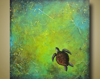 Turtle Painting - Sea Turtle - Bright Green Painting - Nautical Art 30x30 Slow and Steady by Britt Hallowell