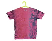 Hand Printed T-shirt - Rainbow Roll - Psychedelic Geometric Shirt- hand dyed - Pink - Adult Small