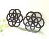 WP05 /  # 14 Black / Geometric Shape Pairs for Earring / Laser Cut Geometric Flower Wooden Charm/Pendant/ Large Filigree Wood  Dangle