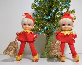 Cute  Elf Pixie Dressed in Red Felt and Gold Trim with Blond Hair