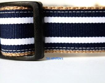 Navy Stripe Dog Collar, Navy and White Collar, Pet Accessories, Adjustable Dog Collar, Nautical Dog Collar