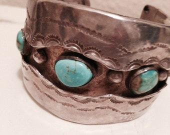 Vintage Sterling Turquoise Cuff Bangle Bracelet  FREE SHIP
