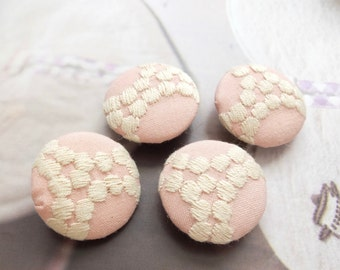 Fabric Covered Buttons - Chic Embroidery Wedding Lace Retro Dots Bubbles Waves On Soft Pink (4Pcs, 0.87 Inch)