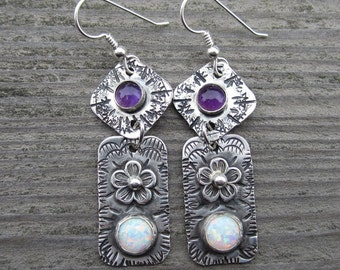 Opal and Amethyst Sterling Silver Earrings
