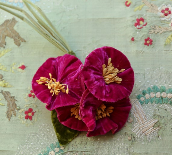 Vintage Flower Velvet Cloth Millinery Piece Purple Pink Shade