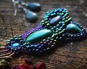 Grapes of Paradise - Blue green purple Malachite Jasper beaded pin and Earring set