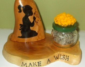 Make A Wish - Dandelion Jar on Cypress Knee Slice With Knee Gift For Girl OOAK -  FREE SHIPPING!!!