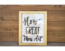FRAMED Hymn Art with Hand Lettered Calligraphy on Frame - You Choose the Hymn / Framed Hymn Art / How Great Thou Art