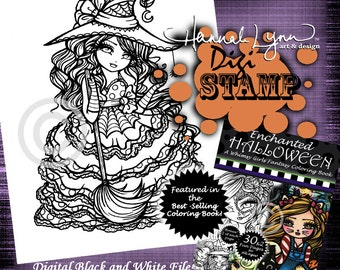 PRINTABLE Digi Stamp Witch Enchanted Halloween Coloring Page Fun Fantasy Art Hannah Lynn