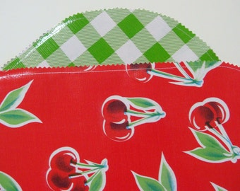 Red Cherries and Green Gingham Oilcloth Placemats