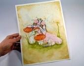 Original Watercolor Fairy Painting - Books & Dreams
