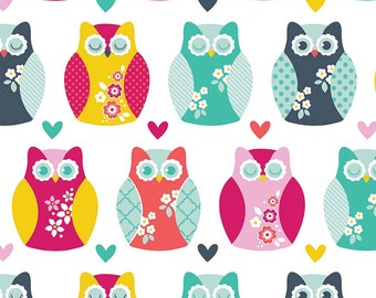 Magenta Teal Blue Yellow and Aqua Heart and Owl Flannel, 1 Yard