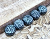 Faux Rustic Iron Bead Set, Rustic Style Beads for Jewelry Making, Artisan Polymer Clay Beads, Handmade Beads, Textured Beads, two color bead