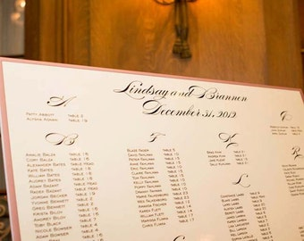 Custom Foam Board Seating Chart for Wedding Reception