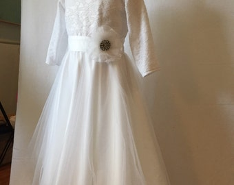 Matte Satin, Lace, and Tulle First Communion or Flower Girl Dress with 3/4 long sleeves  size 8 detachable flower rhinestone belt MB10038