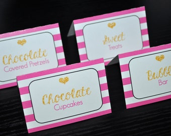 Food Label Cards, Buffet Cards, Candy Labels, Place Cards, Bachelorette, Bridal Shower, Wedding - Pink, Black and Gold Heart - Set of 12