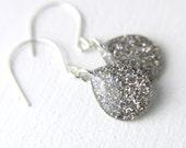 white glitter teardrop earrings on sterling silver, silver dangly earrings, silver earrings, silver teardrop, simple earrings, gift for her