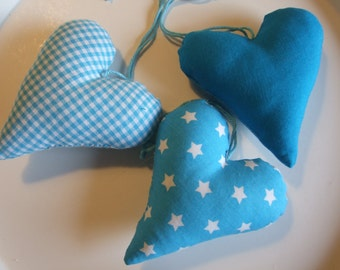 Set of 3 Hearts, Turquoise, Teal, Stars, Gingham, Party Favor, Cottage Living, Colorful Style, Ornaments, Decoration, Gift Idea, Birthday
