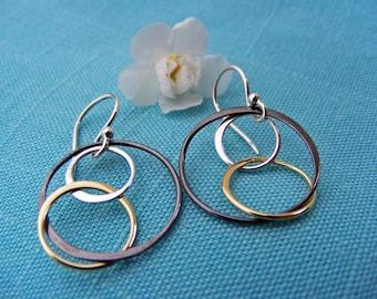 Mixed Metal Hoop Earrings, Mixed Metal Earrings, Dangle Earrings, Drop Earrings, Silver, Bronze and Oxidized Silver Earrings