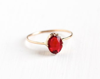 Antique 14k Rosy Yellow Gold Simulated Ruby Ring - Edwardian Vintage Size 7 3/4 Oval Faceted Red Glass Fine Stick Pin Conversion Jewelry
