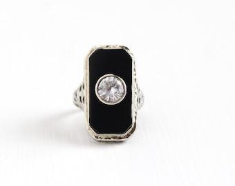 Sale - Antique Art Deco 14K White Gold Onyx Created White Spinel Ring - Vintage 1920s Size 3 3/4 Filigree Black Gem Statement Fine Jewelry