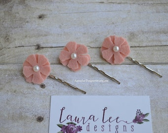 READY TO SHIP, Blush Pink Felt Hydrangea Flower Bobby Pins, Set of 3, Pigtail, Wedding, Flower Girl, Toddler, Christmas, Holiday, New Year