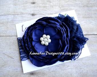 READY to SHIP Navy Blue Singed Satin Flower Headband, OTT Headband, Photo Prop, 1st Birthday Headband, First Birthday, Newborn, Smash Cake