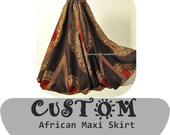 CUSTOM African Dashiki Maxi Skirt, Select Your Size and Fabric, OOAK African Print Fashion, A-line Drawstring Maxi Skirt, Handmade to Order