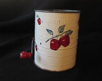 Vintage Bromwell Flour SIFTER Apple Red Apples Tin Lithograph Wood Hand Crank 3 Cups Kitchen Memorabilia