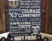 Navy Chief CPO Collage Subway wall Sign Anchor Up Sailor Creed E7 painted wood art