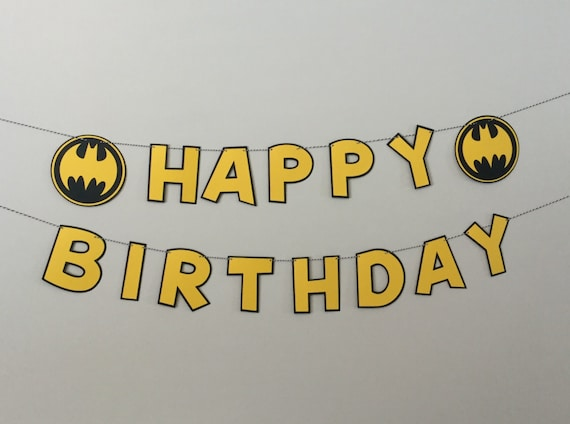 batman black and yellow happy birthday banner by scraptags