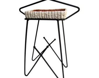 Mid Century Modern Hairpin Atomic Ashtray Stand Metlox Ceramics Modernist Stand Ball Feet wire Black Wrought Iron
