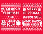 SAVE 20% His & Hers Ugly Christmas Sweaters. Star Wars Matching Ugly Sweaters. Merry Xmas from the Empire/Rebels. Rebel Scum! Nerf Herder!