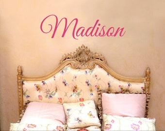 Custom Name Wall Decor - Wall Name Decal, Bedroom Decor, Kids Playroom Decal, Baby Nursery Decal, Shown: Madison (0179c25v)