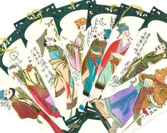 8 Japanese Hand painted handmade bookmarks cut paperJapan