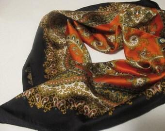 Silk Scarf vintage paisley black red orange