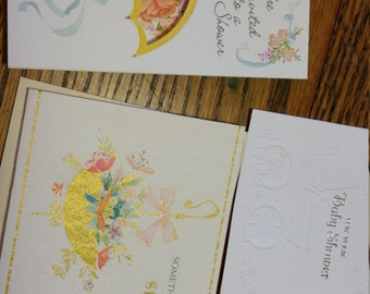3 Vintage Bridal Shower Cards mid century gift baby 1960s